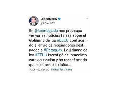 EEUU niega incautación de respiradores para Paraguay