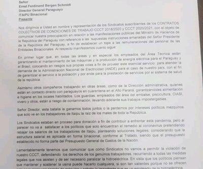 Imputan a sindicalistas de Itaipú