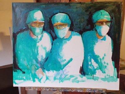 Coronavirus: Koki Ruiz pinta cuadro en homenaje al personal de blanco