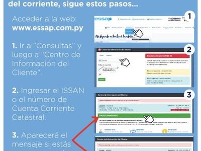 Usuarios de Essap pueden verificar exoneración de pagos vía online