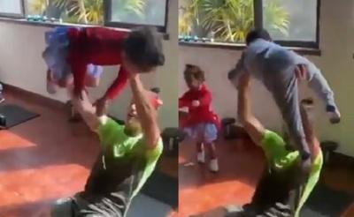 Cristiano usa a sus hijos para ejercitarse