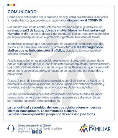 Banco Familiar informa que uno de sus guardias tiene coronavirus