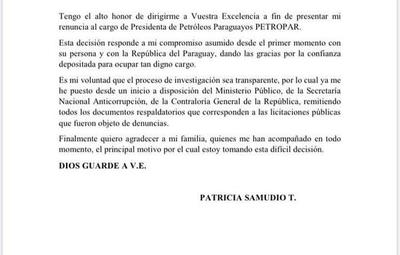 Patricia Samudio renunció a Petropar