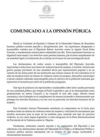 Comisión de Equidad y Género de la Cámara de Senadores lanza Comunicado en repudio a Robert Acevedo