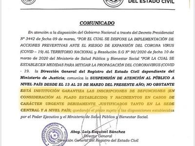 Cuarentena: Solo inscripción de nacimientos y defunciones, recuerda Registro Civil
