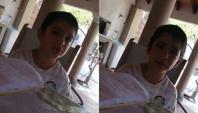 """El niño que es furor en redes tras calificar de """"haso"""" a la cuarentena"""