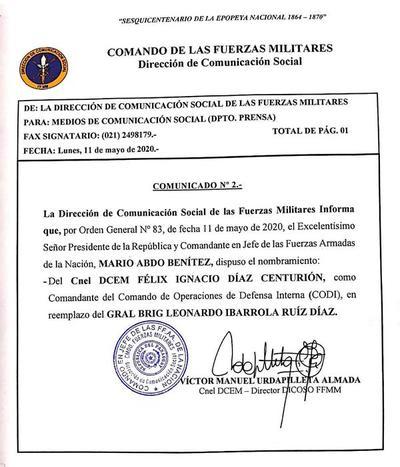 Ejecutivo designó nuevo titular del Comando de Operaciones de Defensa Interna