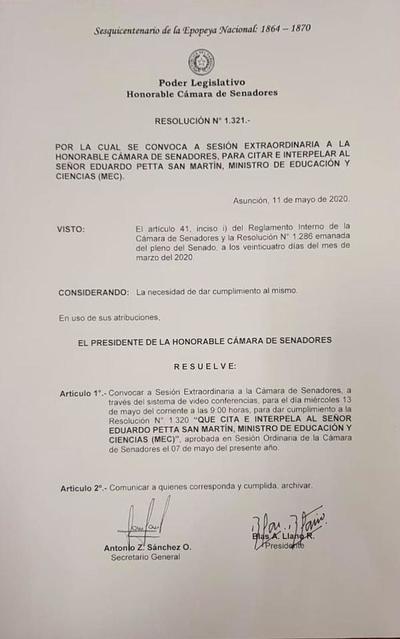Senado interpelará a Petta el miércoles próximo