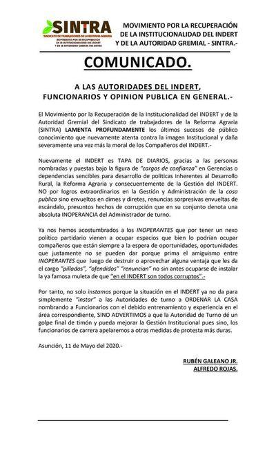 Gremios del Indert repudian escándalos de corrupción que envuelven a la institución