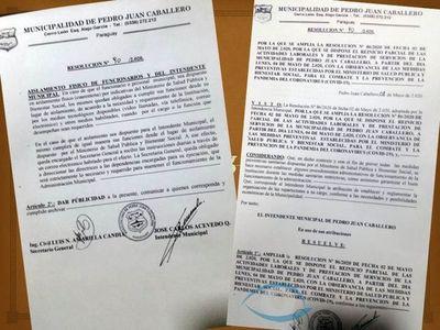 Para que nadie se siente en su silla, Intendente de Pedro Juan emite resolución que atenta contra la Constitución Nacional