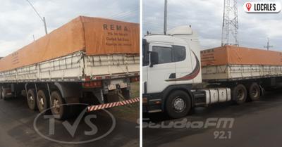 Hallaron un camión transportador de soja abandonado en Coronel Bogado