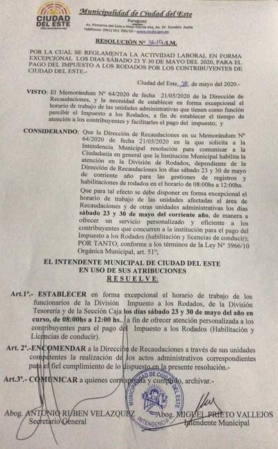 Municipalidad de CDE abre este sábado para gestión de registros y habilitaciones