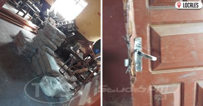 Delincuentes roban cemento y cal del interior de una escuela