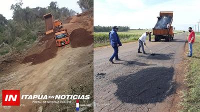 MOPC TRABAJA EN REPARACIONES EN DIFERENTES TRAMOS DE RUTAS ITAPUENSES.