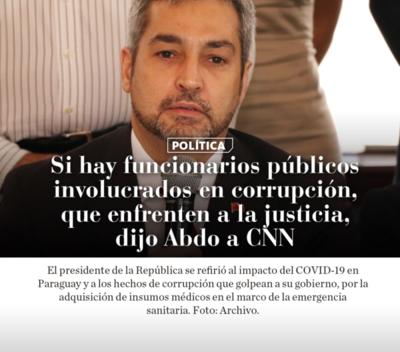 Si hay funcionarios públicos involucrados en corrupción, que enfrenten a la justicia, dijo Abdo a CNN