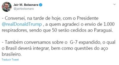 Bolsonaro anuncia donación de respiradores a Paraguay