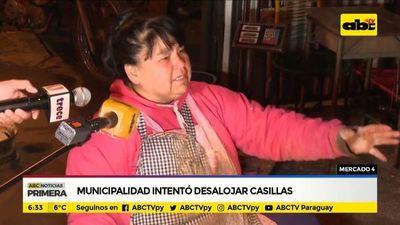 Municipalidad intentó desalojar casillas del Mercado 4