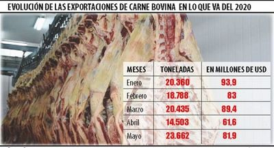 Exportaciones de carne repuntaron 63% en mayo