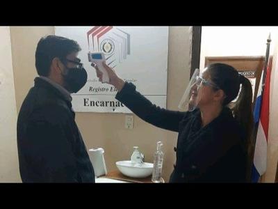 APLICAN ESTRICTAS MEDIDAS SANITARIAS PARA INGRESAR AL REGISTRO ELECTORAL