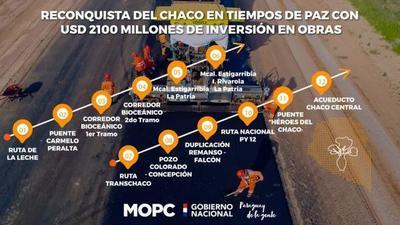 Gobierno ejecuta obras en el Chaco con inversión de US$ 2.100 millones