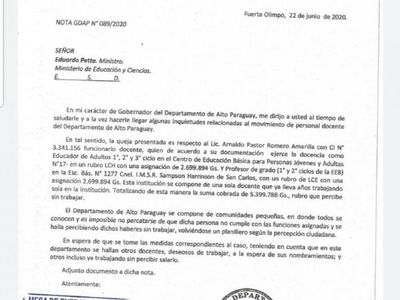 Denuncian supuesto planillerismo docente en Alto Paraguay