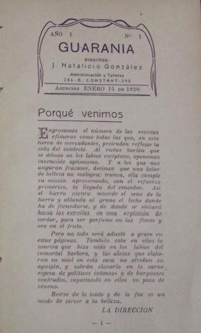 Revista Guarania cumple 100 años