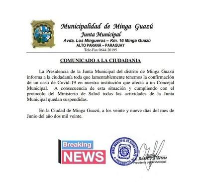 Concejal municipal de Minga Guazú da positivo a coronavirus