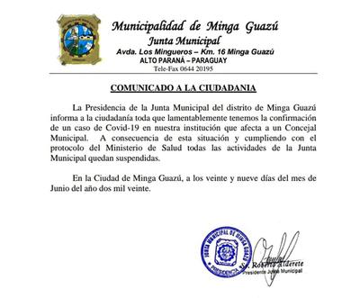 COVID-19: JM de Minga Guazú suspende actividades por caso positivo