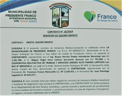 """Sugestivos """"ERRORES"""" en contrato de seguro MEDICO VIP para funcionarios municipales PRIVILEGIADOS en FRANCO"""