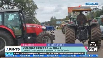 HOY / Cañicultores cierran la Ruta 2 en Coronel Oviedo