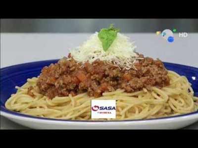 Spaghettis con salsa Boloñesa en la cocina de VLT