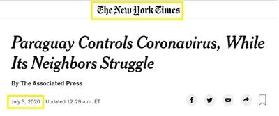 """New York Times: """"Paraguay controla el coronavirus mientras sus vecinos luchan"""""""