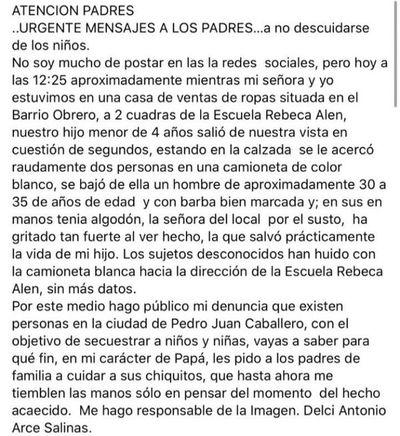 Padre denuncia que desconocidos intentaron raptar a su hijo de 4 años en Pedro Juan Caballero
