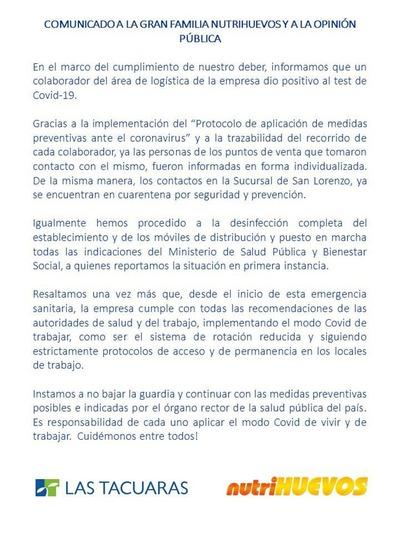Reducto: Productora de huevos demuestra responsabilidad en tema COVID-19