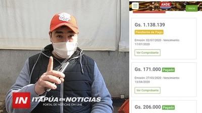 FIGURA COMO EXONERADO DE LA ANDE PERO DEBE ABONAR UNA FACTURA DE GS. 1.000.000