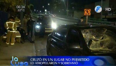 Hombre cruza en zona no permitida y es embestido por un rodado