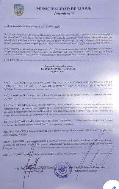 Recién ahora Municipalidad de Luque declara emergencia por aumento de casos de covid-19