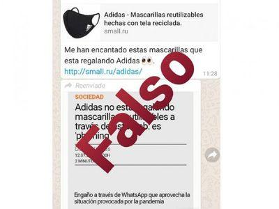 """Alertan sobre engaño con mascarillas """"Adidas"""" en WhatsApp"""