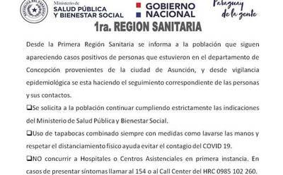 Confirman que un segundo caso positivo de Covid-19 estuvo en el departamento de Concepción